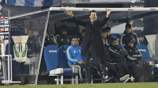 Solari, dando instrucciones durante el partido ante el Leganés.