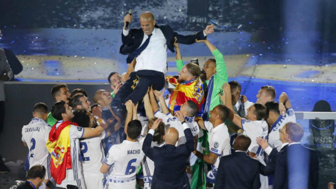 Zinedine Zidane after Real Madrid's Champions League win last May