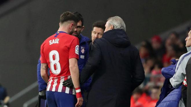 Saúl se lesionó en el partido de Copa ante el Girona y estará un mes de baja.