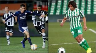 Hirving Lozano y Diego Lainez, controlando el balón.
