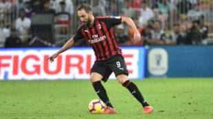 Higuaín, con el Milan.