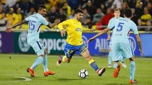 Tana encara a Serbi Busquets en el partido ante el Barça de la pasada...