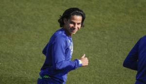 Diego Lainez, en el entrenamiento de este viernes.