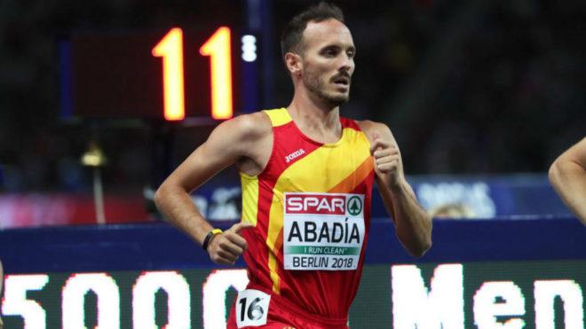 Toni Abadía durante la final de los 5.000 metros del Europeo de Berlín de 2018.