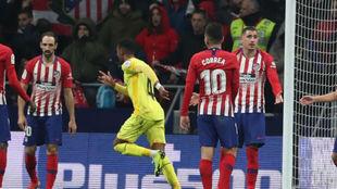 El Girona celebra uno de los goles que eliminó al Atlético.