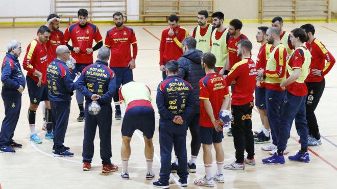 La selección española, en un entrenamiento durante la preparación...