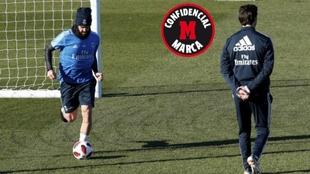 Isco y Solari, en un entrenamiento del Real Madrid.