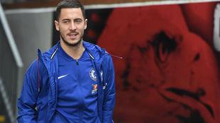 Hazard, antes de un partido con el Chelsea.