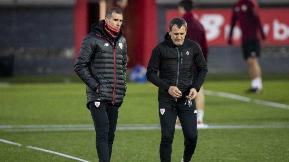 Garitano y Ferreira antes de comenzar el entrenamiento.