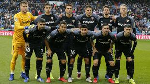 Formación del Sevilla en el Bernabéu.