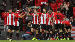 El Athletic celebra un gol esta temporada.
