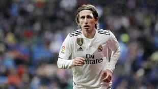 Modric, durante el partido ante el Sevilla.