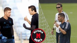 Luca Zidane con Solari y Lopetegui