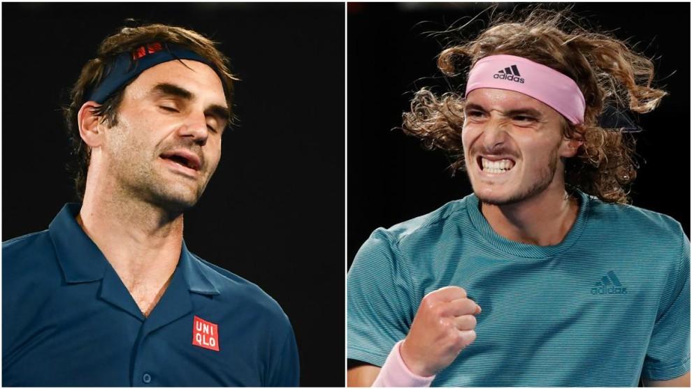 Federer muestra su decepción ante la euforia de Tsitsipas