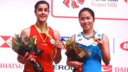 Carolina Marín en el podio del Masters de Malasia junto a Ratchanok...