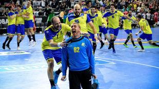 La selección brasileña celebra su victoria ante Croacia.
