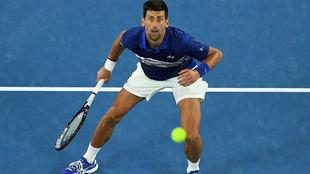Djokovic, en la red, mira fijamente la pelota