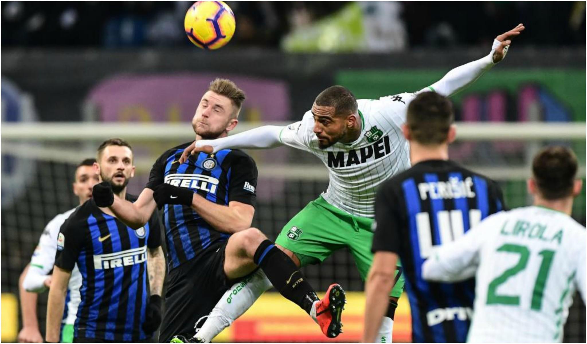 Kevin-Prince Boateng remata de cabeza ante el Inter.