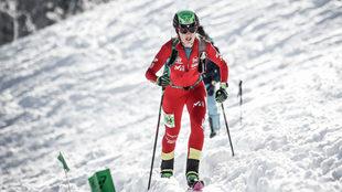 Claudia Galicia, en una de las subidas de la prueba individual.