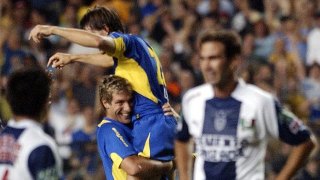 Palermo celebra una anotación de Boca al Pachuca.