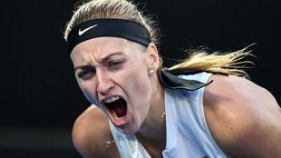 Kvitova grita durante el partido