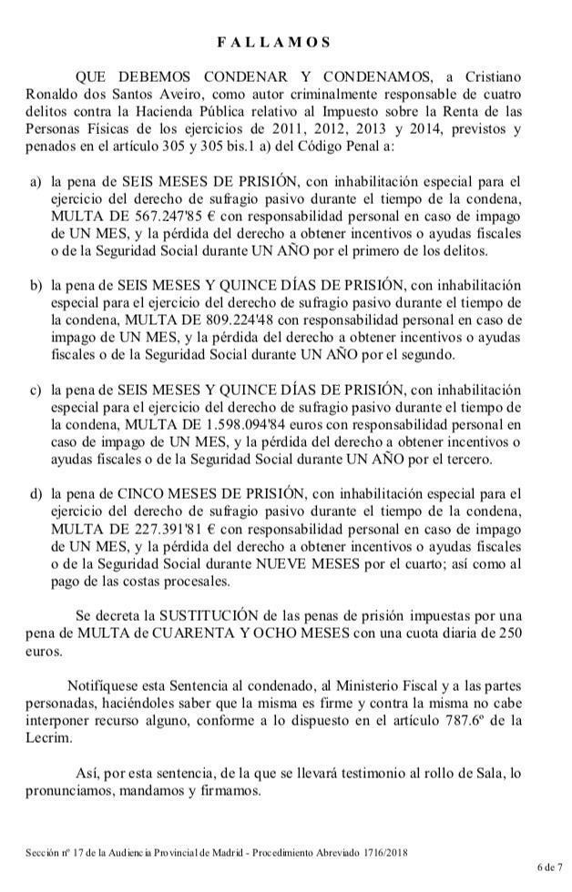 Cristiano Ronaldo acepta dos años de prisión y pagar 18,8 millones a Hacienda - Página 3 15481571465230