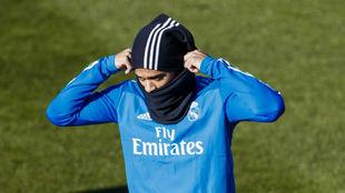 Mariano, en un entrenamiento con el Real Madrid en Valdebebas.