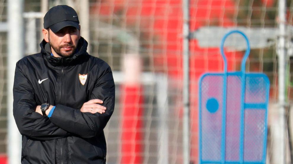 Pablo Machín, durante el entrenamiento de este martes.