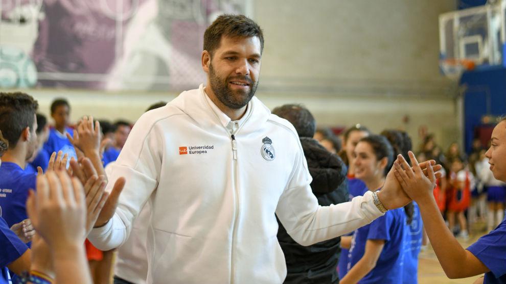 Felipe Reyes, durante la presentación de las Series Colegiales.