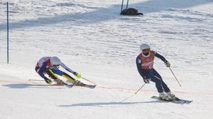 Jon Santacana y Miguel Galindo, en los Juegos de Pyeongchang 2018.