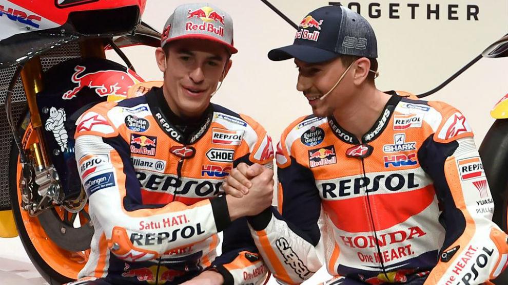 Márquez, con Lorenzo en Madrid.