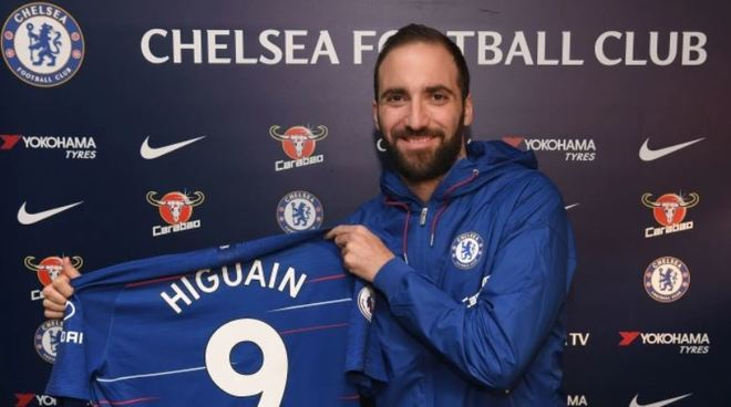 Higuain with the Chelsea shirt.