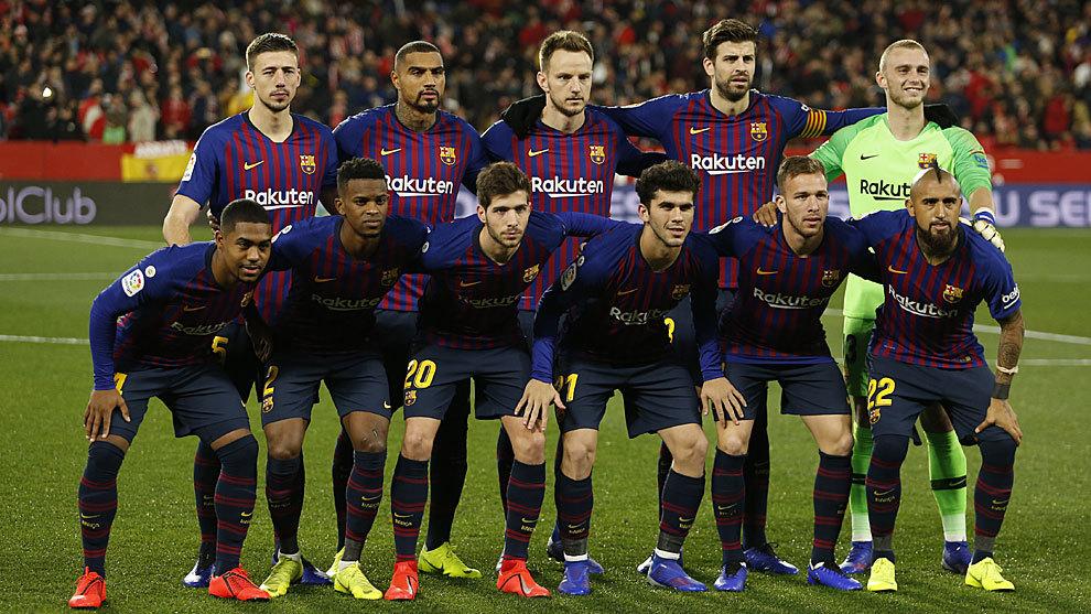 Barcelona's starting XI vs Sevilla.