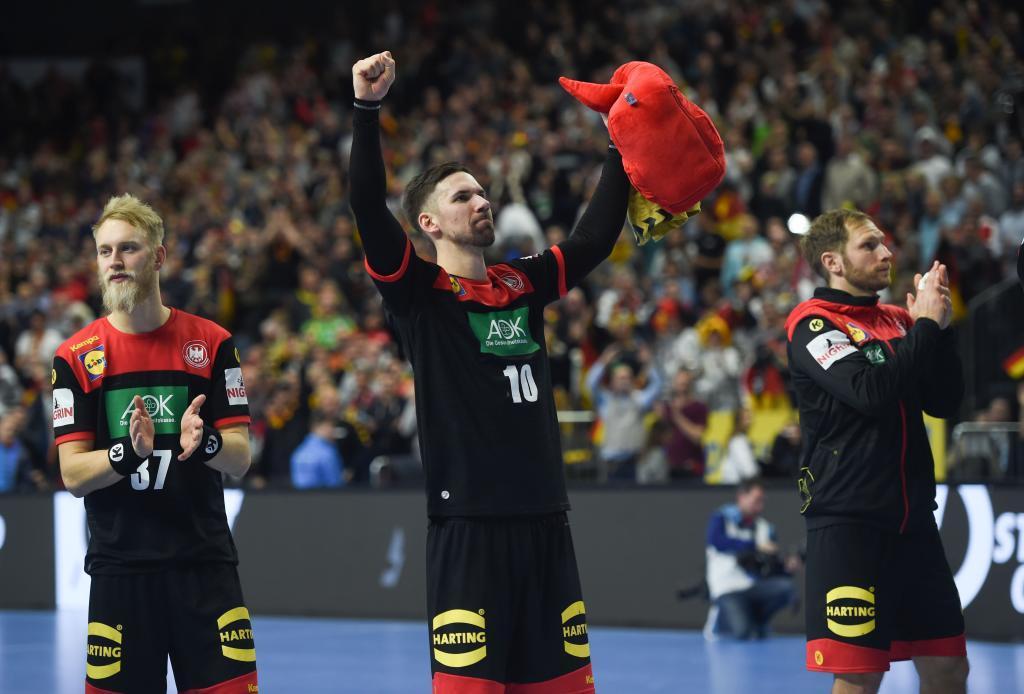 Jugadores alemanes celebran su victoria frente a Croacia.