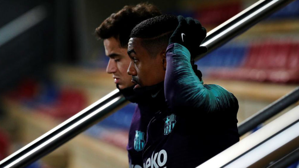 Coutinho and Malcom after a training session.