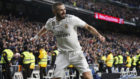 Benzema celebra su gol al Girona.