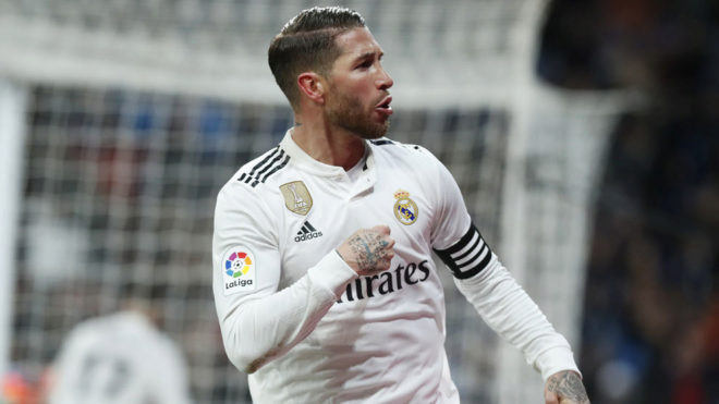 Sergio Ramos celebrating his second goal against Girona.