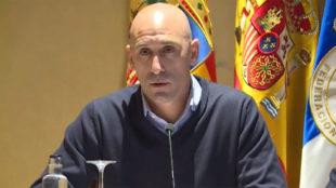 Luis Rubiales, durante su rueda de prensa de este viernes en Zaragoza