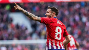 Saúl celebra su gol ante el Getafe.