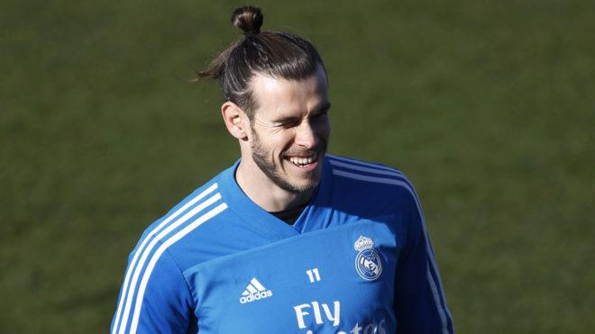 Gareth Bale, durante el entrenamiento de ayer.