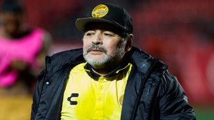 Diego Maradona, presente en la derrota de Dorados ante Potros.