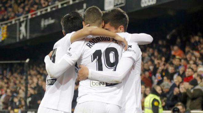 Valencia players celebrating.