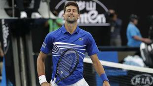 Djokovic se ríe durante el partido
