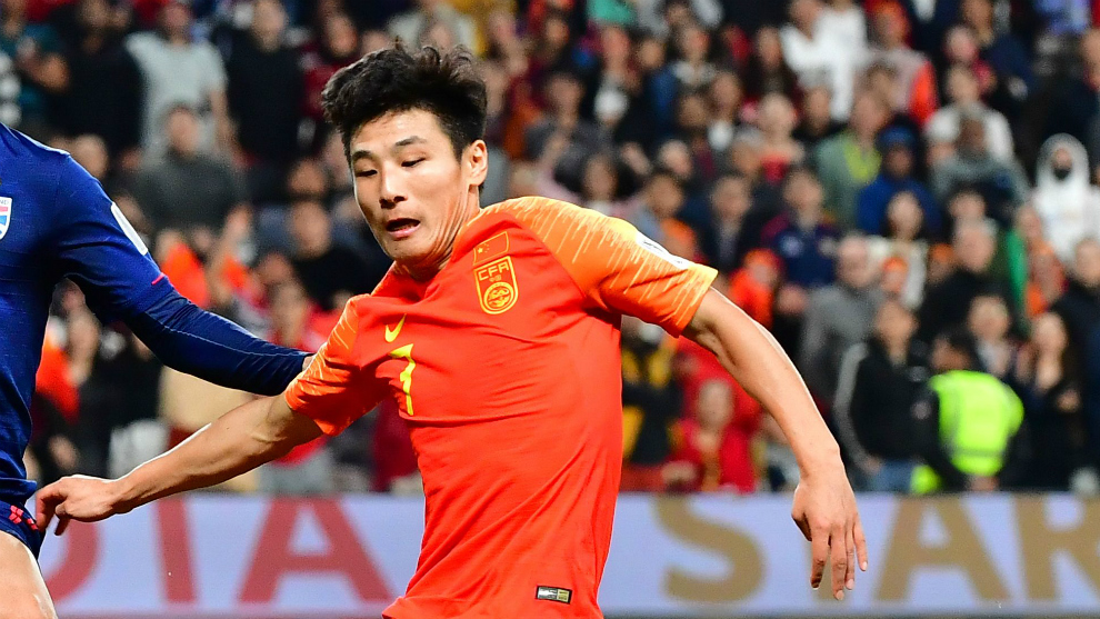 Wu Lei playing for China.