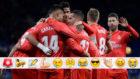 Los jugadores del Madrid celebran un gol al Espanyol