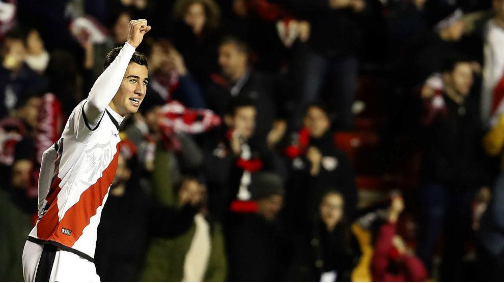 Comesaña celebra su gol ante la Real Sociedad.