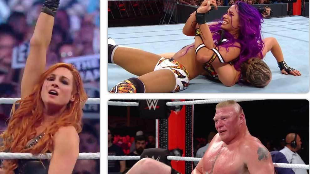 Seth Rollins y Becky Lynch (ganadora de la primera Batalla Real...