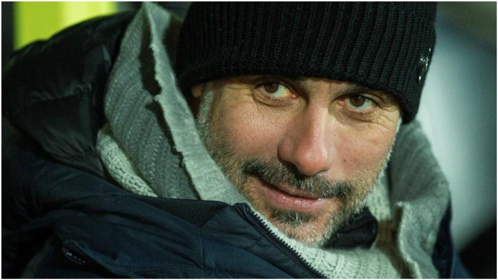 Pep Guardiola, durante el partido de Copa de la Liga contra el Burton...