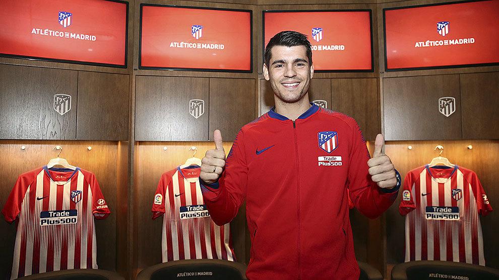 Morata in Atletico's dressing room.