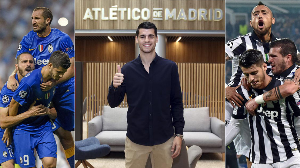 Morata with his new side, and after scoring two goals against Madrid.
